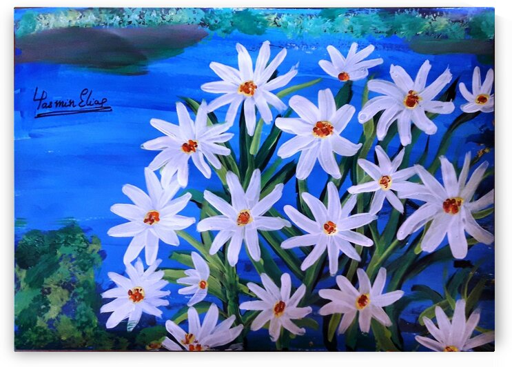 daisy flowers Acrylic paint - Wall Art - Home - Office Decor by Yasmin MUhammad Elias