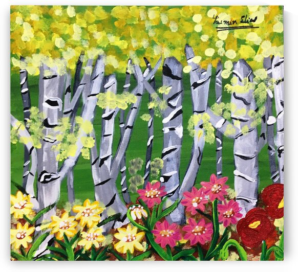 Birchtrees with flower beds by Yasmin MUhammad Elias