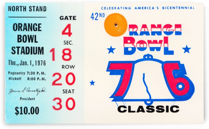 1976 Orange Bowl Ticket Stub Wall Art by Row One Brand