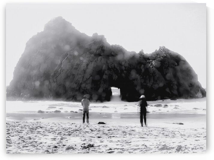 big stone at Pfeiffer beach Big Sur California USA in black and white by TimmyLA