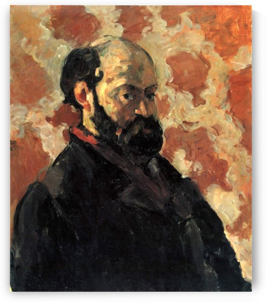 Self-portrait before Rose Background by Cezanne by Cezanne