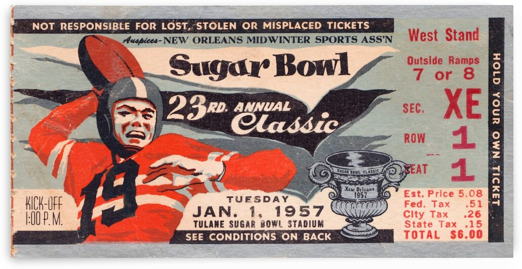 1957 Sugar Bowl Ticket Wall Art Baylor Win by Row One Brand
