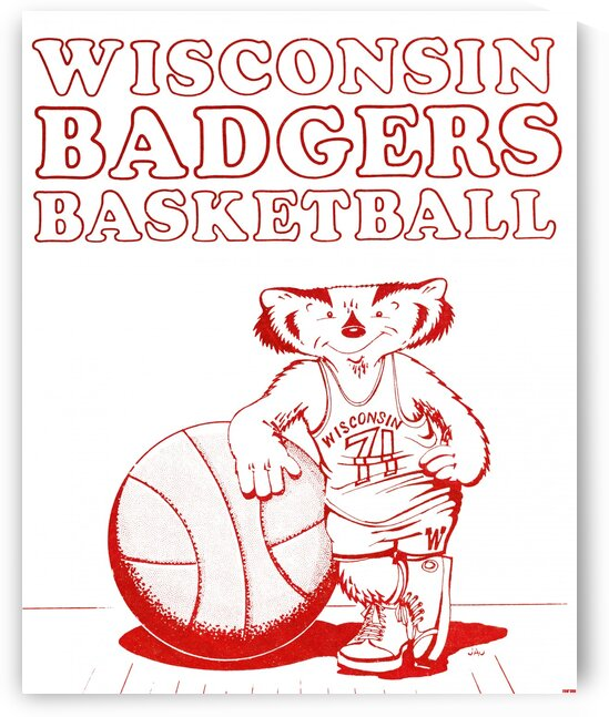 1971 Wisconsin Badgers Basketball Poster by Row One Brand