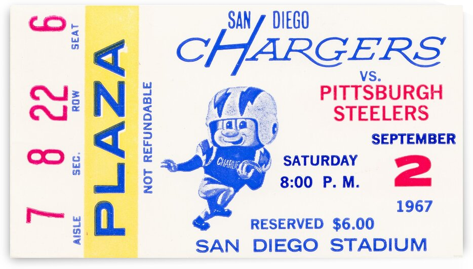 1967 San Diego Chargers Ticket Art by Row One Brand