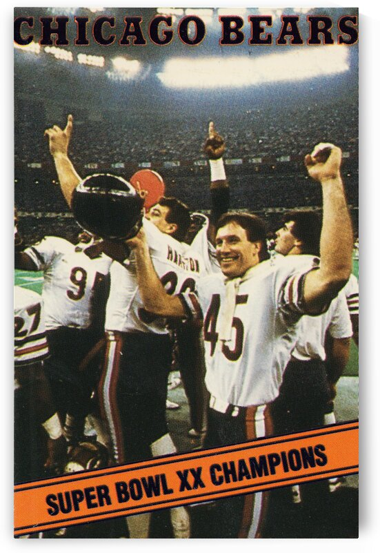 1985 Chicago Bears Super Bowl Champions Poster by Row One Brand
