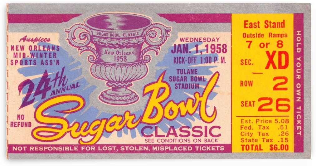 1958 Sugar Bowl Ole Miss Win by Row One Brand