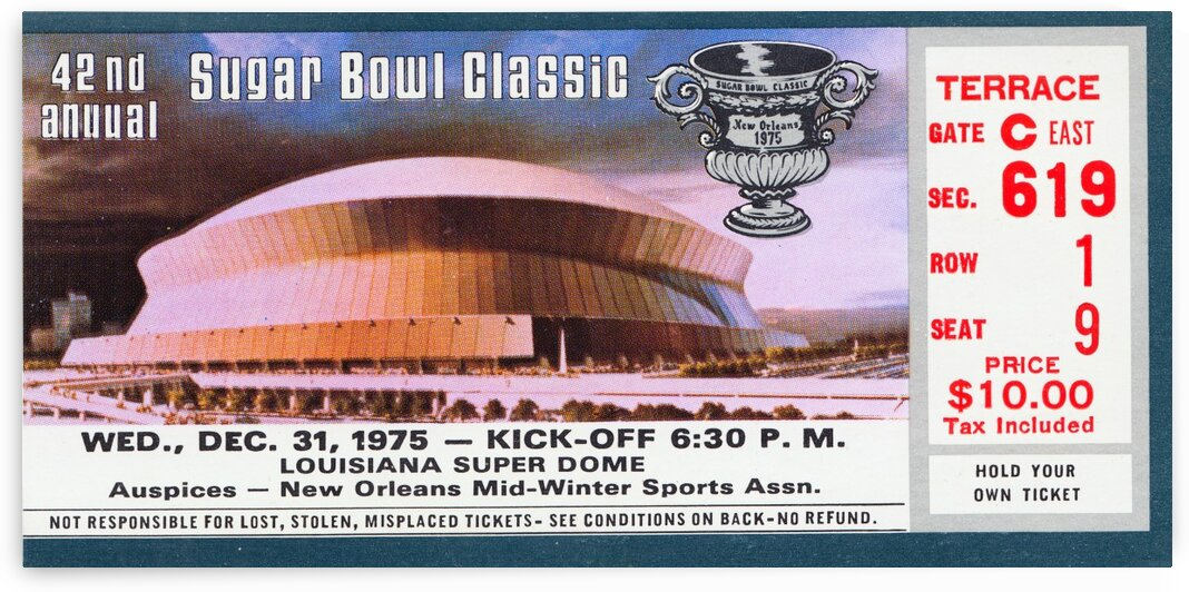 1975 Sugar Bowl Ticket Art Alabama Win by Row One Brand