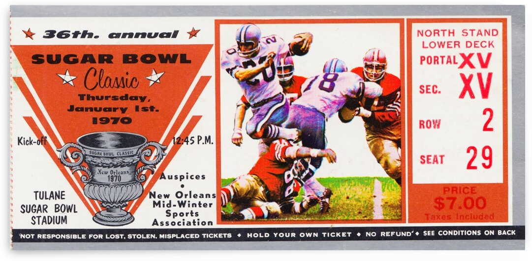 1970 Sugar Bowl Ticket Art Ole Miss Win by Row One Brand