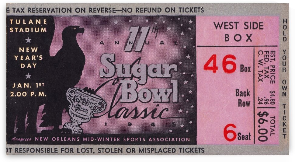1945 Sugar Bowl Ticket Art Duke Win by Row One Brand