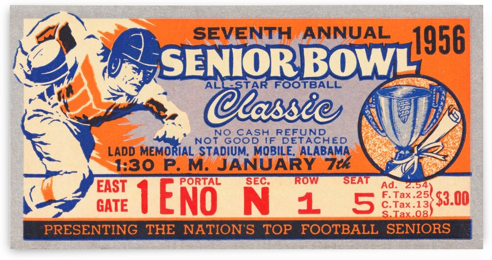 1956 Senior Bowl Ticket Stub Art by Row One Brand