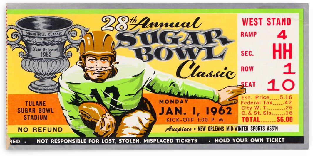 1962 Sugar Bowl Ticket Poster Alabama Win by Row One Brand