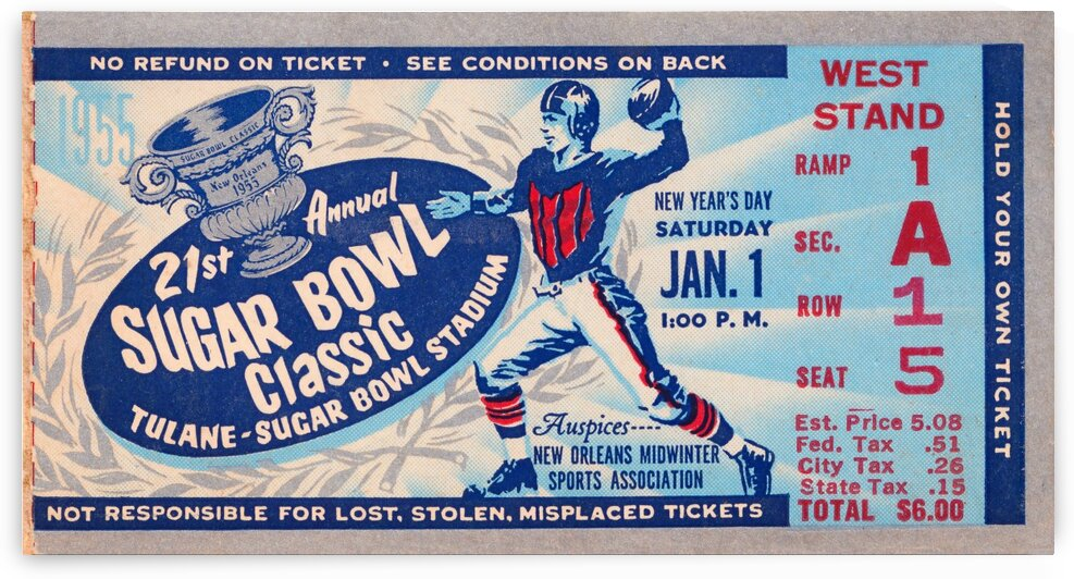 1955 Sugar Bowl Navy Win by Row One Brand