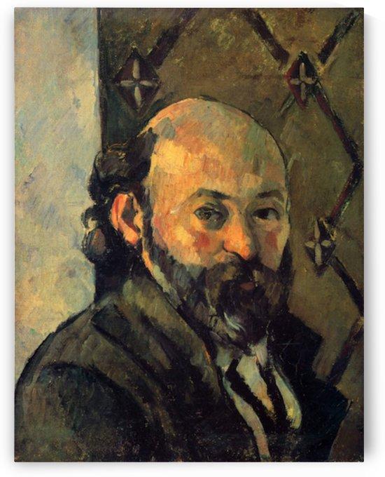 Self-portrait in front of wallpaper by Cezanne by Cezanne