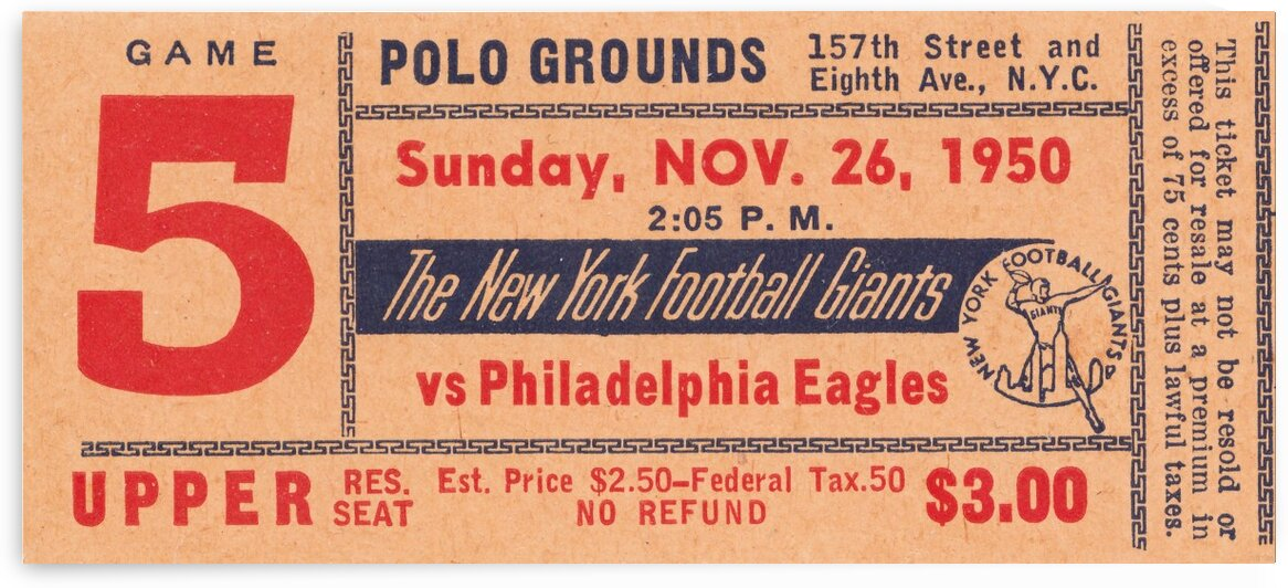 1950 New York Giants vs. Eagles by Row One Brand
