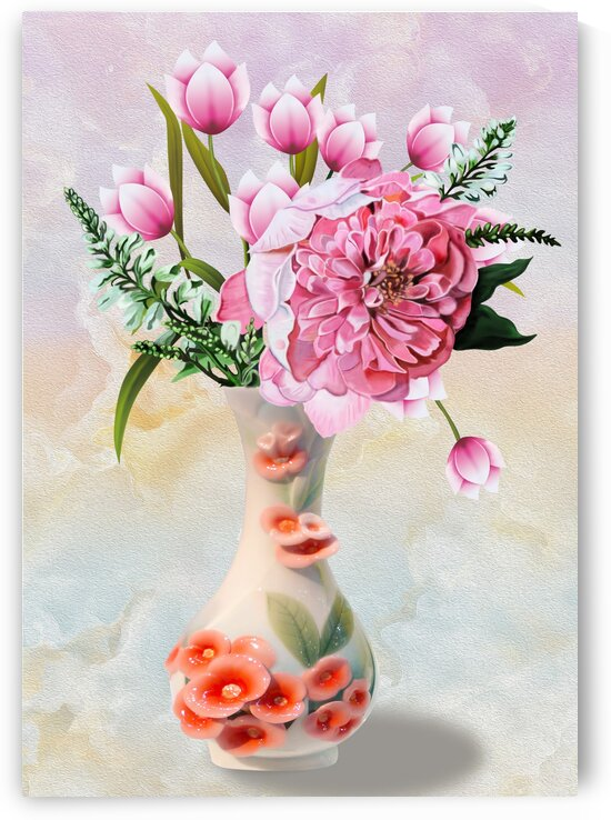 Vases and flowers with digital painting technique by ali akbar khalifeh