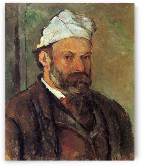 Self-portrait with a white turban by Cezanne by Cezanne