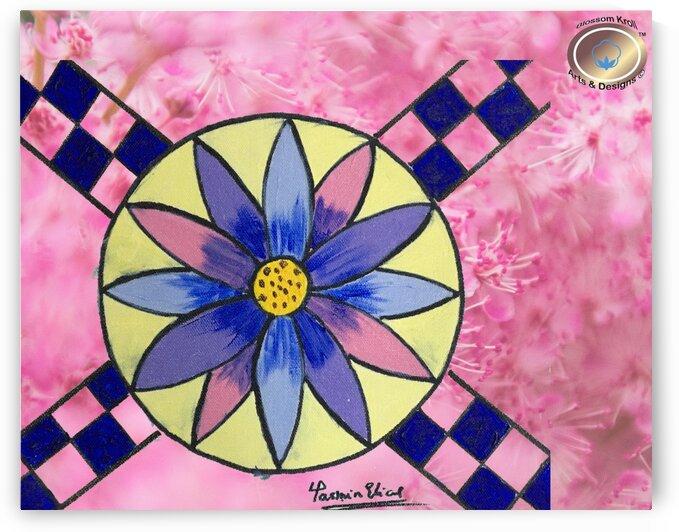 MandalaArt Cross BlueAcrylic by Yasmin MUhammad Elias