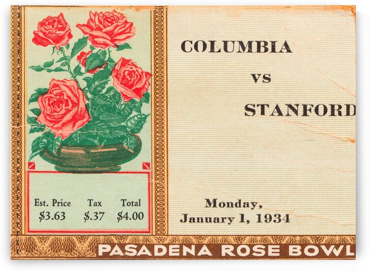 1934 Rose Bowl Columbia Win by Row One Brand