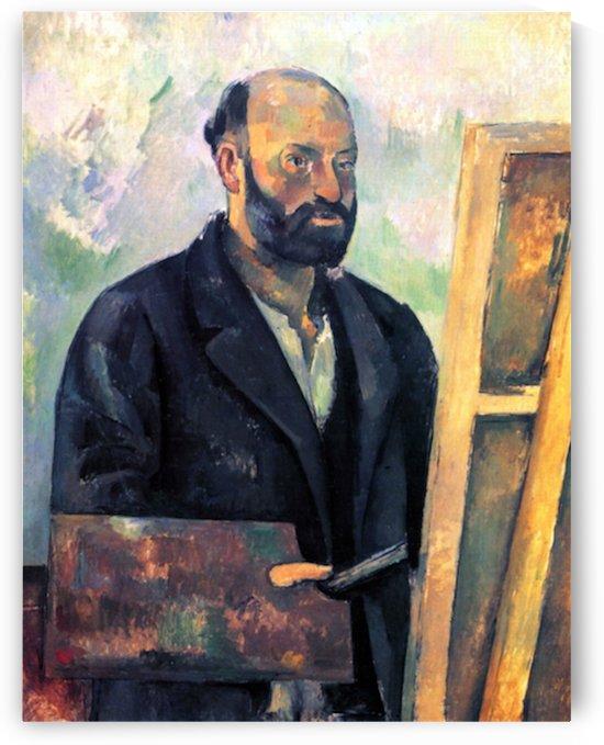 Self-portrait with Pallette by Cezanne by Cezanne