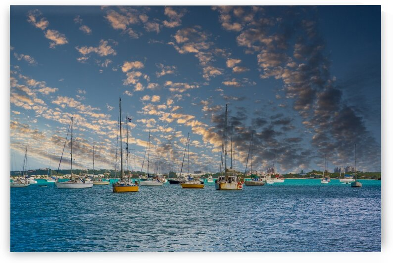 Colorful Boats in Blue Harbor Edit by Darryl Brooks