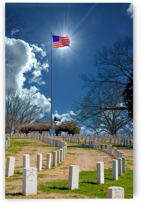 Sun Behind Flag at Cemetery by Darryl Brooks
