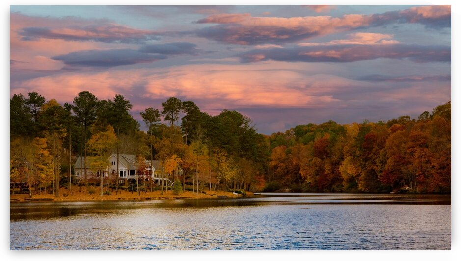 Lakeside Home in Sunset Sky 2 by Darryl Brooks