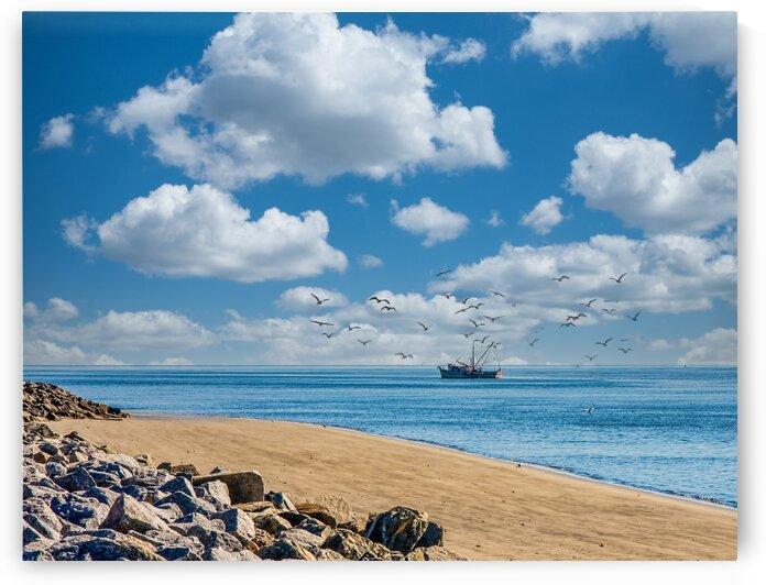 Shrimp Boat Past Rocky Beach Edit Luminar4 edit by Darryl Brooks