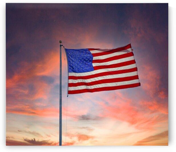 Bright Backlit Flag by Sunset by Darryl Brooks