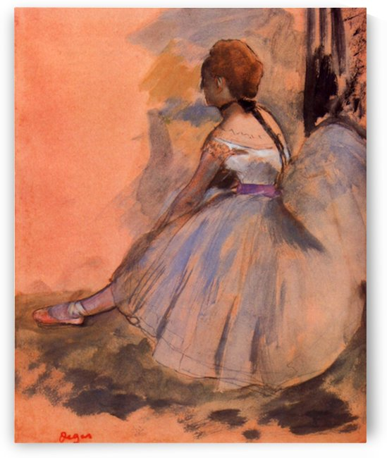 Sitting dancer with extended left leg by Degas by Degas