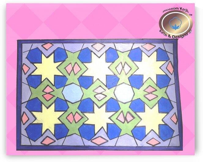 CREAMstar Geometri Art Islamic acrylicpaint WAll officeDecor by Yasmin MUhammad Elias
