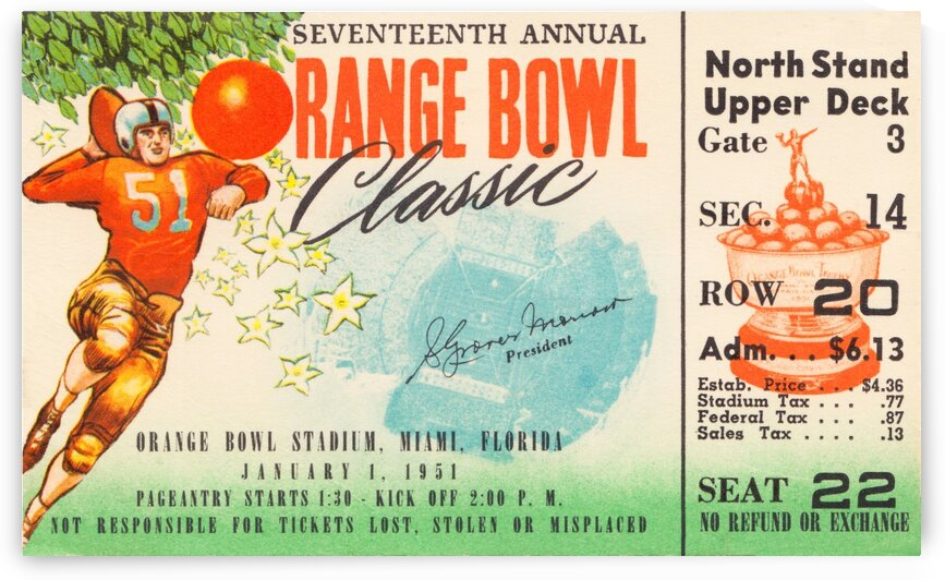 1951 Orange Bowl Clemson Win by Row One Brand