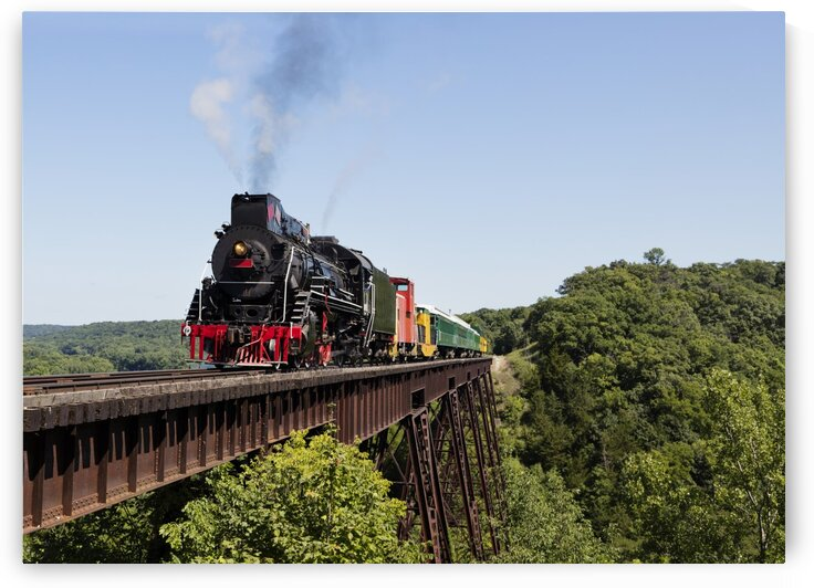 A steam train crosses the 156 foot tall Bass Point Creek Bridge by Tony Tudor