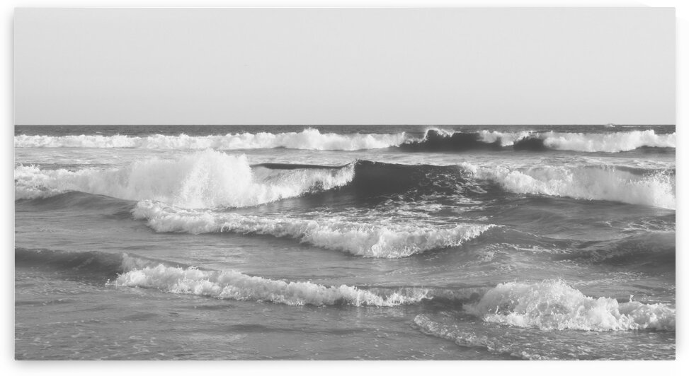 Huntington Beach Waves in Black and White by Leah McPhail