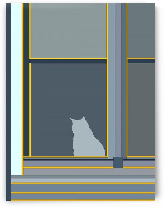 Cat in Window by Al Chemist