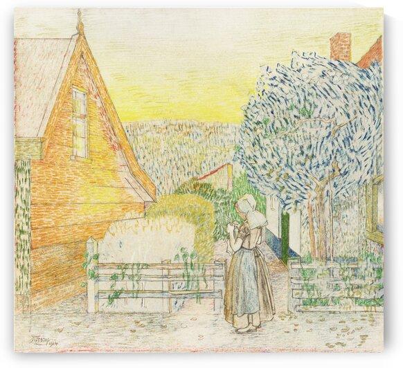 Zeeland girl  knitting in a courtyard by Tony Tudor