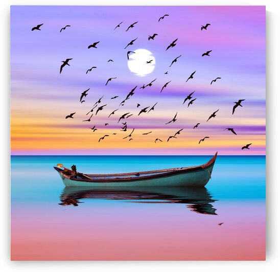 A flock of birds over a wooden boat in the lake. by Ievgeniia Bidiuk