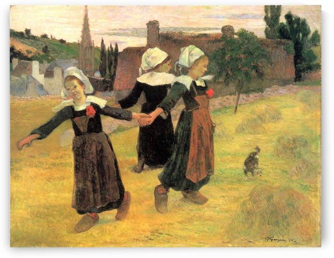 Small Breton Women by Gauguin by Gauguin