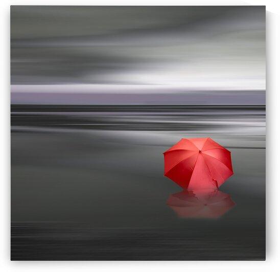 Bright red umbrella lying on the water. by Ievgeniia Bidiuk