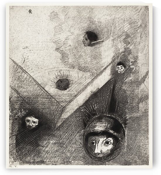 On Backdrop of Our Nights God with His Knowing Finger Traces a Multiform Implacable Nightmare by Odilon Redon by Tony Tudor