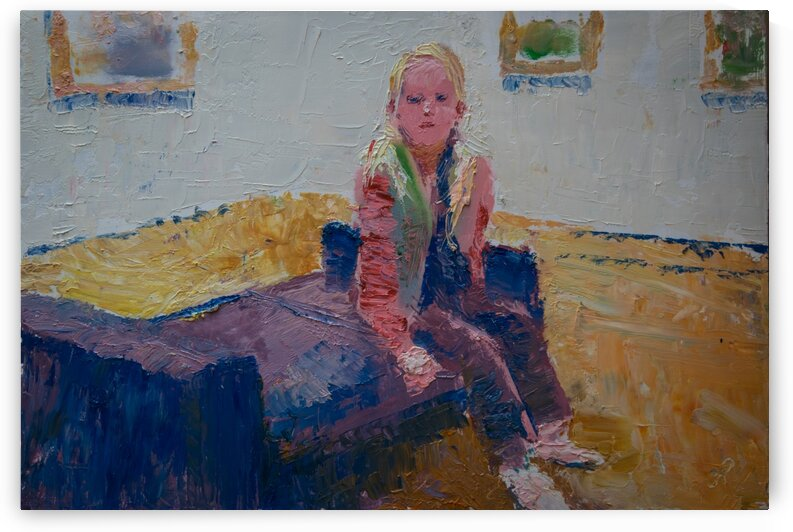 Girl sitting on a bench by RoySeberg