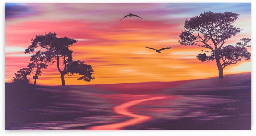 Colorful landscape with birds sunset. by Ievgeniia Bidiuk