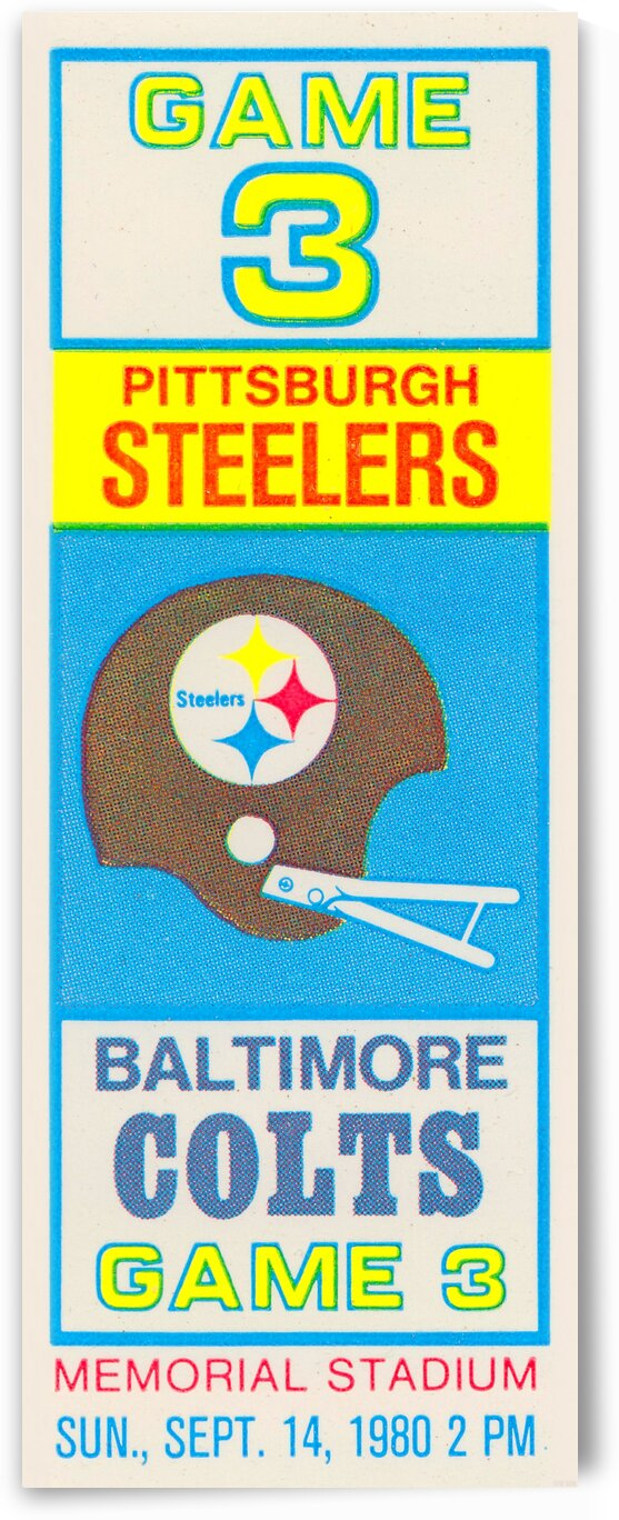 1980 Baltimore Colts vs. Pittsburgh Steelers by Row One Brand