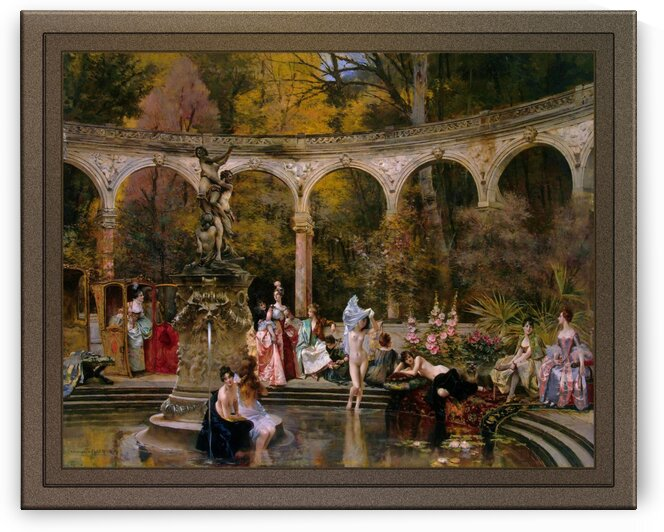 Bathing of Court Ladies in the 18th Century by Francois Flameng Old Masters Classical Fine Art Reproduction by xzendor7