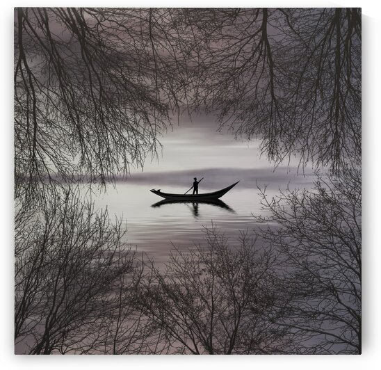 Silhouettes of a man in a boat. by Ievgeniia Bidiuk