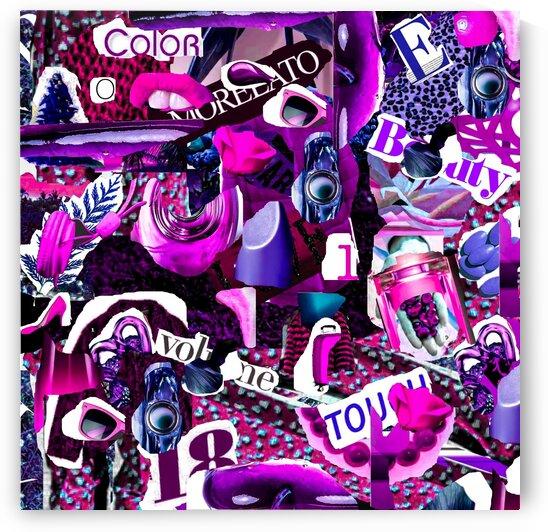 Magazine clipping words in a purple-pink shade. by Ievgeniia Bidiuk