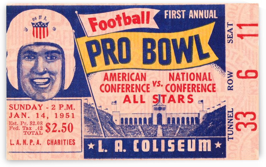 1951 First Pro Bowl Ticket Stub Art by Row One Brand