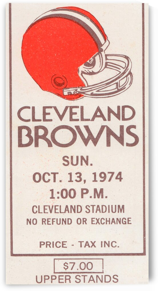 1974 Cleveland Browns Ticket Stub Art by Row One Brand