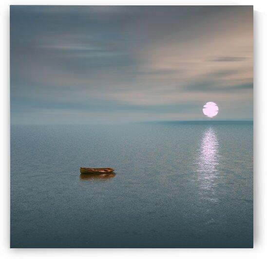 Wooden boat in the open ocean. by Ievgeniia Bidiuk