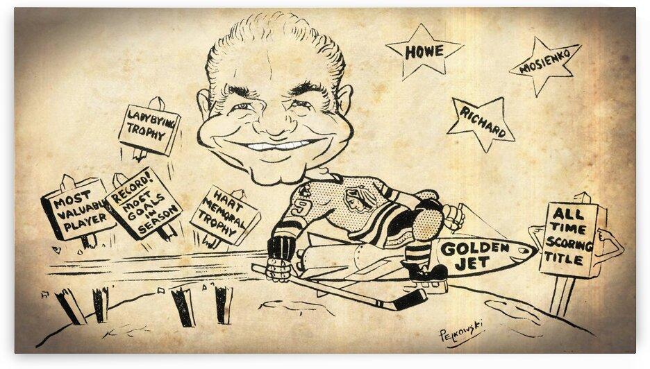 Gordie Howe Golden Jet Cartoon Hockey Art by Row One Brand