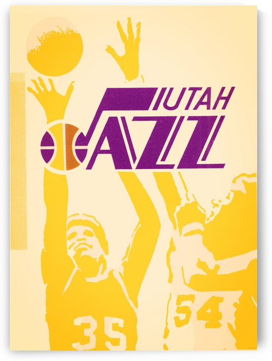 1980 Utah Jazz Retro Basketball Art by Row One Brand